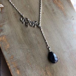 Drop Necklace Black & Silver